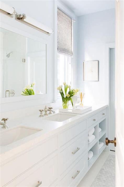 Spa Like Bathroom Colors by Spa Like White And Blue Master Bathroom Boasts A Light