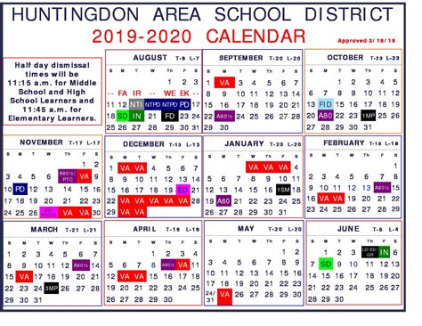 school calendar app huntingdon area school district