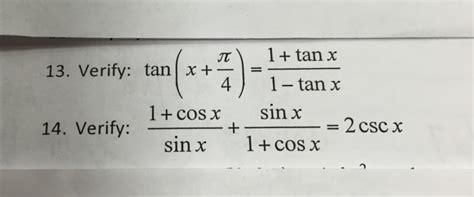 Tan (x + Pi/4) = 1+tanx/1-tanx 14. Ver