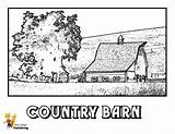 Coloring Barn Tractor Country Farm Yescoloring Boys Tractors Earthy sketch template