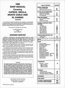 1985 Chevy Car Repair Shop Manual Impala Caprice Malibu Monte Carlo El Camino  Gmc Caballero