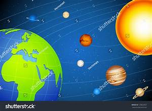 Illustration Of Solar System With Planets Moving In Orbits ...
