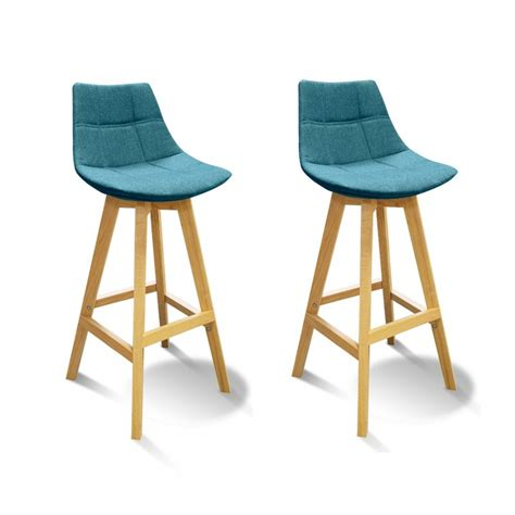 lot 2 tabourets de bar scandinave tissu bleu wendy