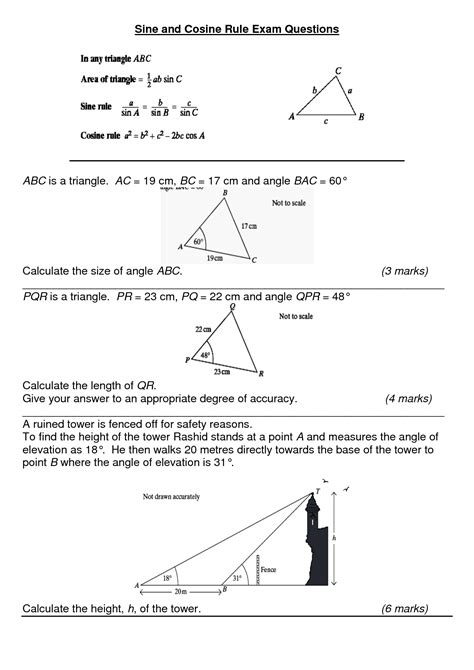 8 best images of law of cosines worksheet answers law of sine trigonometric functions law of