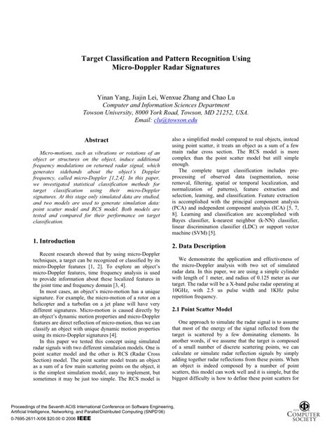 (PDF) Target Classification and Pattern Recognition Using