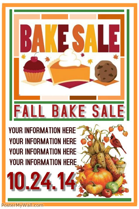 fall bake sale template postermywall