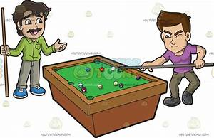 Two Men Competing In A Game Of Pool Cartoon Clipart ...