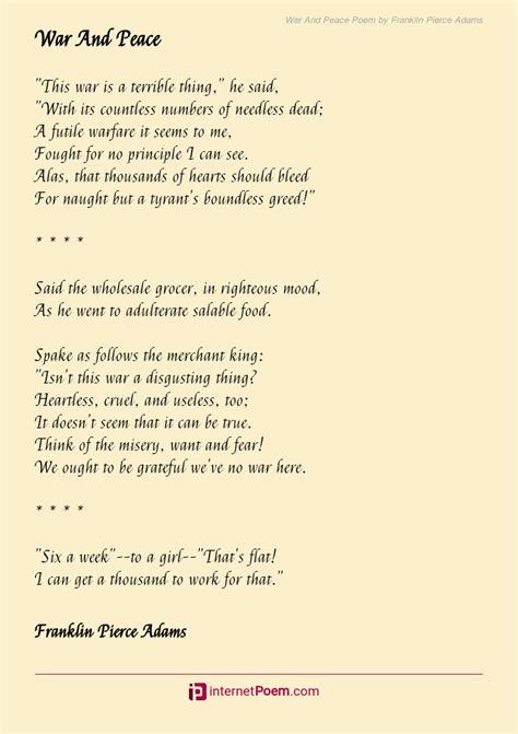 war  peace poem  franklin pierce adams