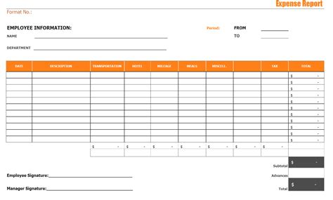 Expense Report Template Blank Expense Report Mughals