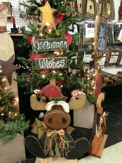 cute chritmas moose craft  images wooden christmas