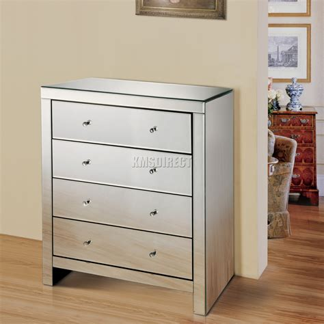 Foxhunter Mirrored Furniture Glass 4 Drawer Chest Cabinet