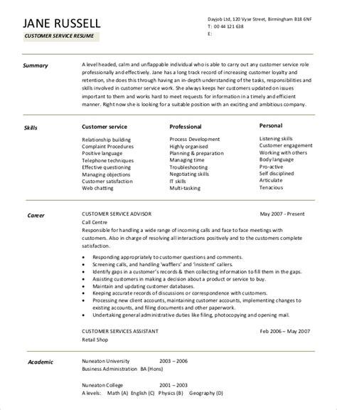 Resume Summary Statement Exles Customer Service by Sle Resume Summary Statement 9 Exles In Word Pdf