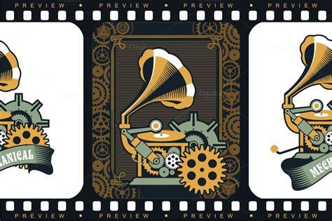 steampunk mechanism graphics  creative market