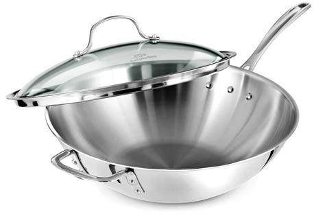 calphalon tri ply stainless stir fry pan  lid