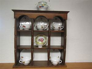 Wood, Tea, Cup, And, Saucer, Shelf, With, Plate, Grooves, Or, Table, Top