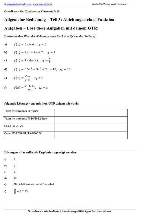 gtr taschenrechner grafikrechner ableitung berechnen