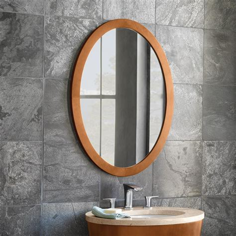 contemporary solid wood framed oval bathroom mirror