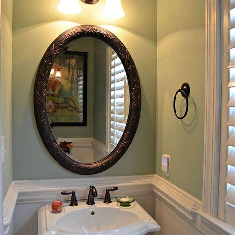 bath makeover  beadboard wallpaper  behr
