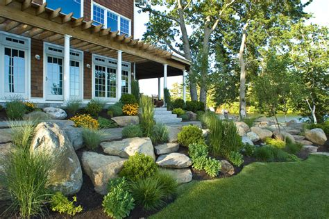 using boulders in landscaping landscaping with rocks landscape beach with boulders firepit hillside landscape