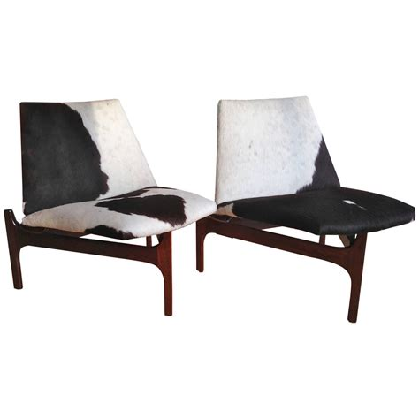 Cowhide Chairs by Sculptural Low Lounge Chairs With Cowhide Upholstery For