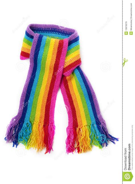 bright rainbow knitted scarf stock image image