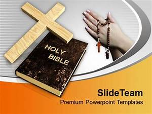 Cross Symbol And Bible With Praying Hands Powerpoint