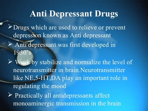 anti depressant   classifications