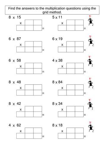 grid multiplication worksheets ks2 multiplication grid method worksheet generator maths