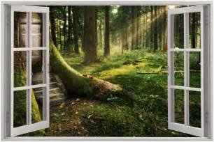 huge 3d window view enchanted forest wall sticker mural