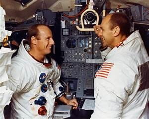 File:Pete Conrad (left) and Al Bean pose in the LM ...
