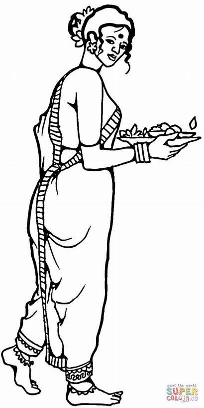 India Colorare Disegni Vestiti Tradizionali Femminili Dell