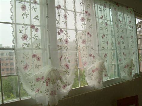 sheer voile curtains australia 85x175cm embroidered pink flowers balloon sheer voile