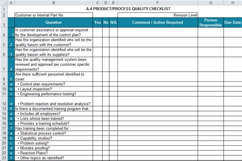 apqp checklists  excel compatible  aiag apqp  ed