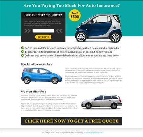 Instant Car Insurance by Get Instant Quote For Auto Insurance Landing Page Design