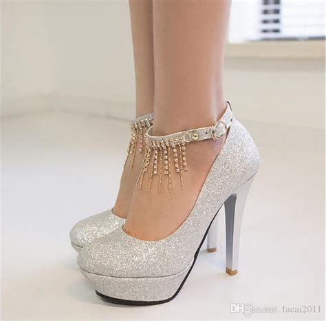 single sequined shoes high   word buckle