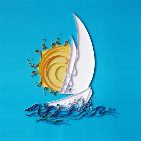 sailing  blue sea quilling decoration paper diy kit