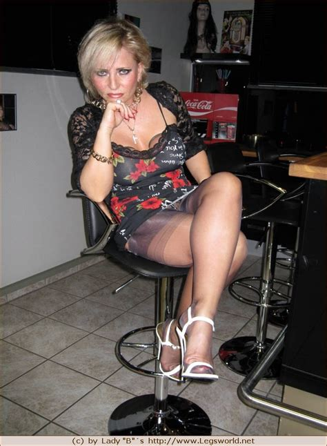 Busty German Lady Barbara In White Heels And Stockings