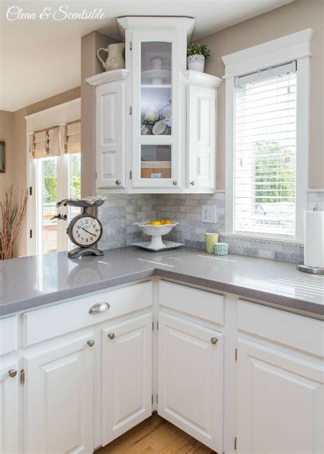 light gray quartz countertops white kitchen reveal home tour clean and scentsible