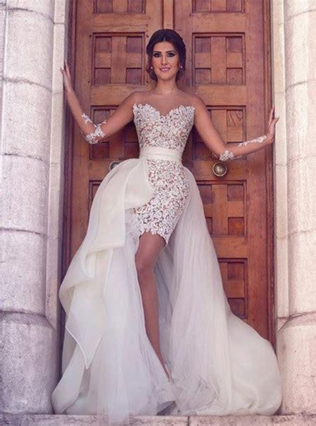 gorgeous long sleeve lace appliques prom dresses