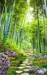 3d, Bamboo, Forest, Flower, Corridor, Entrance, Wall, Mural