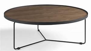 Table Basse Ronde Industrielle : table basse ronde bois noyer et m tal noir noka ~ Teatrodelosmanantiales.com Idées de Décoration
