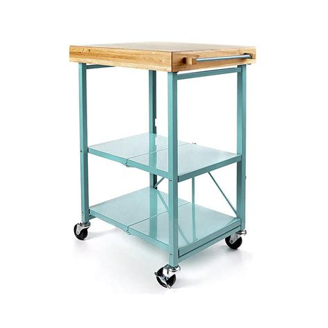 Origami Kitchen Cart by Origami Folding Kitchen Island Cart With Casters Blue