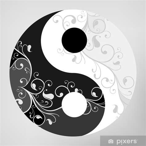 Fosil Motif Yin Yang sticker yin yang motif symbole sur fond gris illustration