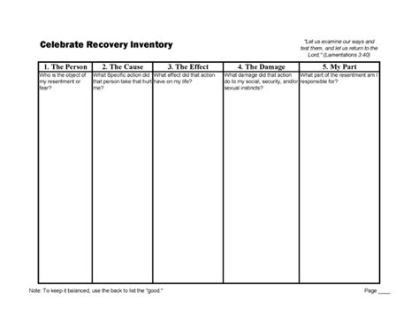 celebrate recovery inventory worksheet setting the prisoner free comfort overcomes shame