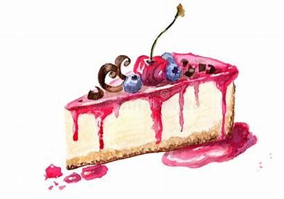 Illustration Cheesecake Dessert Watercolor Piece