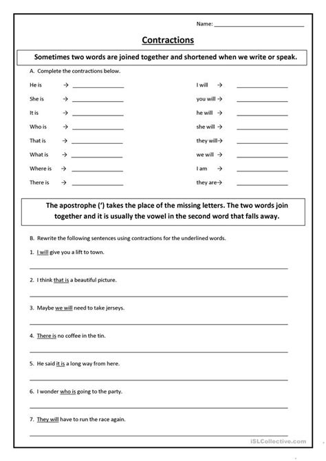 Contractions Or Short Forms Worksheet  Free Esl Printable Worksheets Made By Teachers