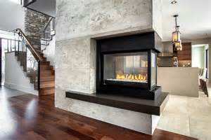mediterranean kitchen ideas 3 sided gas fireplace family room contemporary with 3