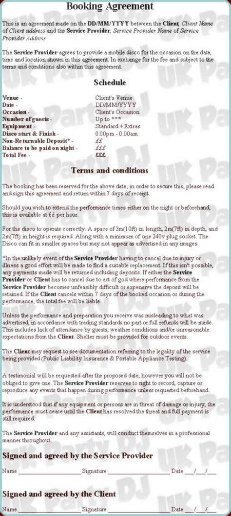 Mobile Dj Contract Template by Sle Dj Contract Agreement Free Printable Documents