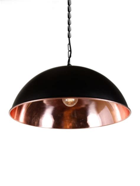 copper dome pendant with a black outer