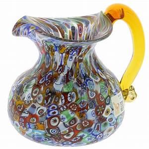 Murano Glass Vases Murano Glass Millefiori Pitcher / Carafe